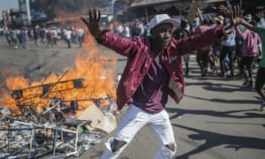 MDC Alliance supporters protest in Harare on Wednesday.