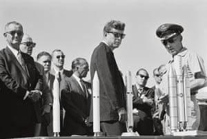 John F Kennedy, centre, and the US vice-president, Lyndon Johnson, far left, visit Huntsville in September 1962