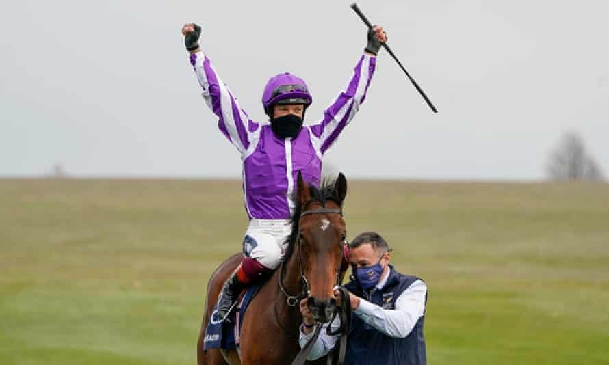 Frankie Dettori celebrates after riding Mother Earth to win the 1,000 Guineas at Newmarket on Sunday