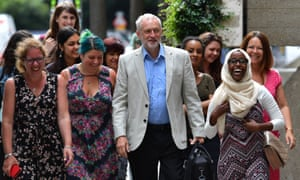 Jeremy Corbyn with supporters arrives to launch his leadership campaign.