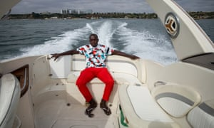 Self-made millionaire Taz Costa on his yacht taking a trip to Ilha do Mussulo