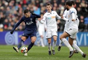 Erik Lamela of Tottenham Hotspur scores his side's second goal.
