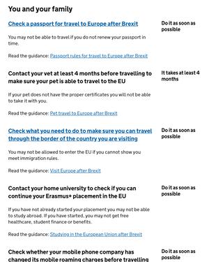Brexit travel pet advice