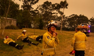 Firefighters on the outskirts of Kulnura, NSW