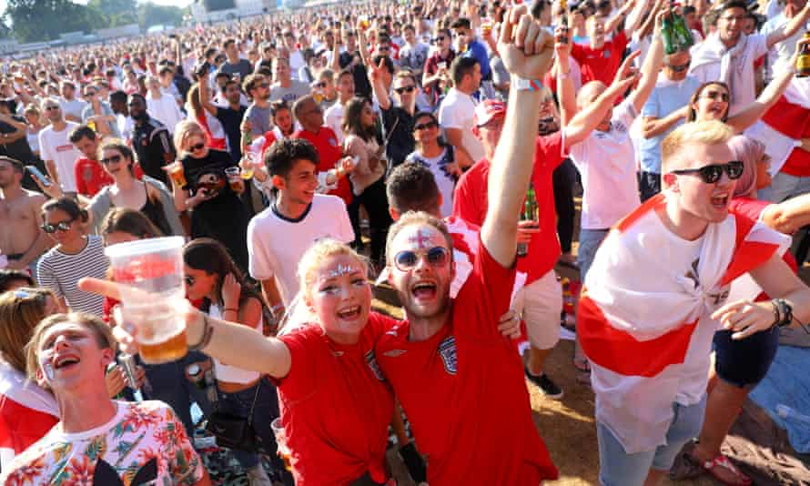 Crowds in Hyde Park watching England's 2018 World Cup semi-final.  Comparable scenes won't be possible this summer, but something akin to collective joy may return.
