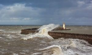 Wild weather at Whitehaven harbour, Cumbria
