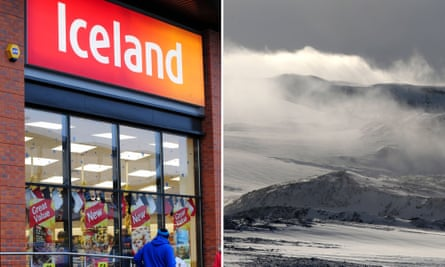 An Iceland shop and the Langiokull Glacier in Iceland.