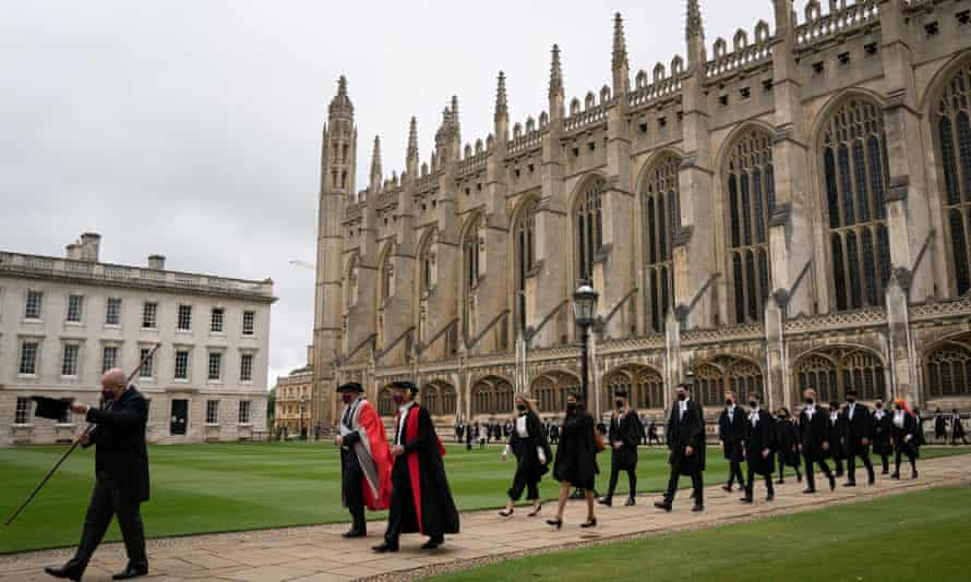 Cambridge students take part in the vice chancellor's procession before a graduation ceremony last month.