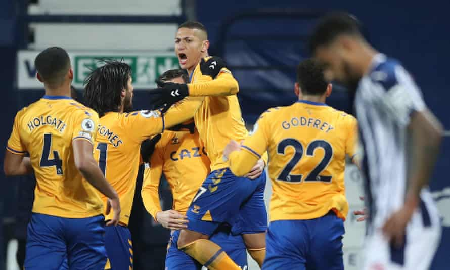 Everton's Richarlison celebrates his header against West Brom, which proved to be the winning goal.