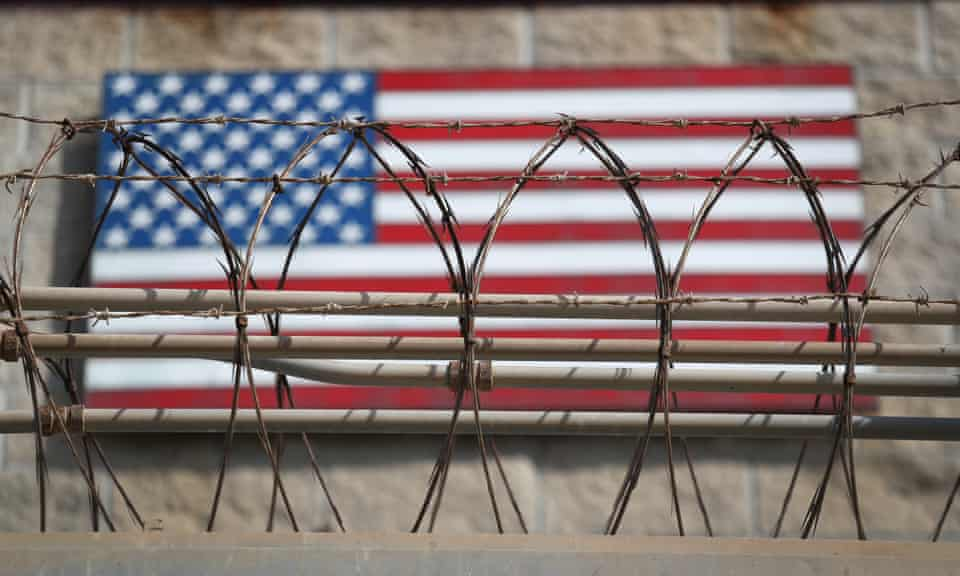 Razor wire lines the fence of the detention center at Guantanamo Bay.