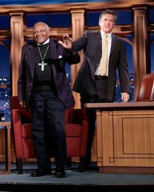 With Desmond Tutu on The Late Late Show with Craig Ferguson, 2009.