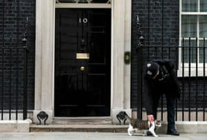 Larry is stroked by a police officer on the step outside number 10
