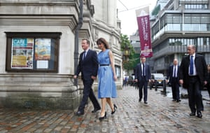 Britain's Prime Minister David Cameron and his wife Samantha arrive to vote in the EU referendum in London.