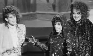 From left, Wendy Melvoin, Prince and Lisa Coleman accepting an Oscar for Purple Rain.
