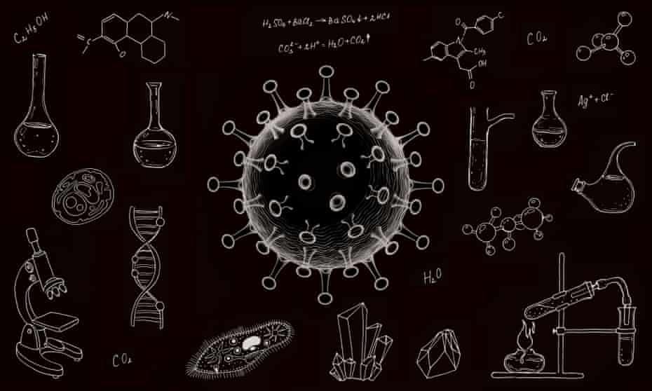 Image of a coronavirus drawn on a blackboard alongside scientific equipment and diagrams