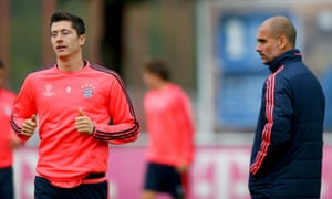 Pep Guardiola and Robert Lewandowski