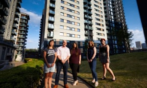 Residents of Cypress Place flats inManchester.