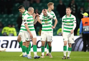 Celtic's Greg Taylor reacts at full-time.