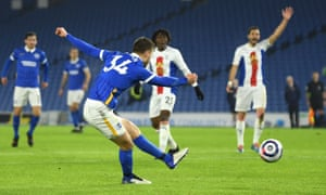 Joel Veltman of Brighton & Hove Albion scores his side's first goal.