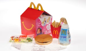 McDonald's Barbie Happy Meal with hamburger, french fries, milk and apple dippers