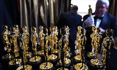 Losing their shine … the statuettes line up at this year's Oscars ceremony.