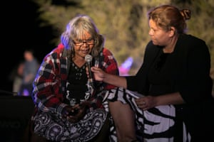 """Artist Lenie Namatjira (left) is interviewed on opening night (Friday). Namatjira is the granddaughter of one of Australia's best-known Aboriginal artists, Albert Namatjira. Discussing her circle painting, Lenie Namatjira said: """"I want people to see my painting so they can see the place we belong to."""""""
