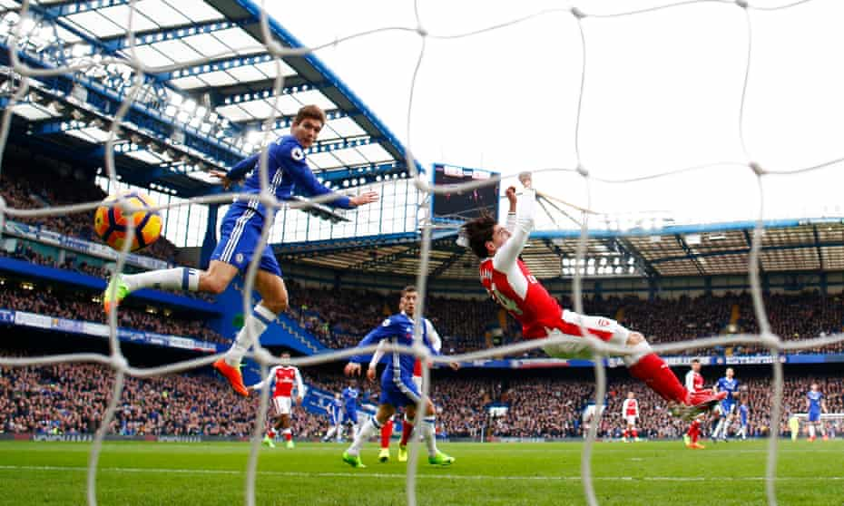 Marcos Alonso gets the better of Héctor Bellerín to give Chelsea the lead at home to Arsenal.
