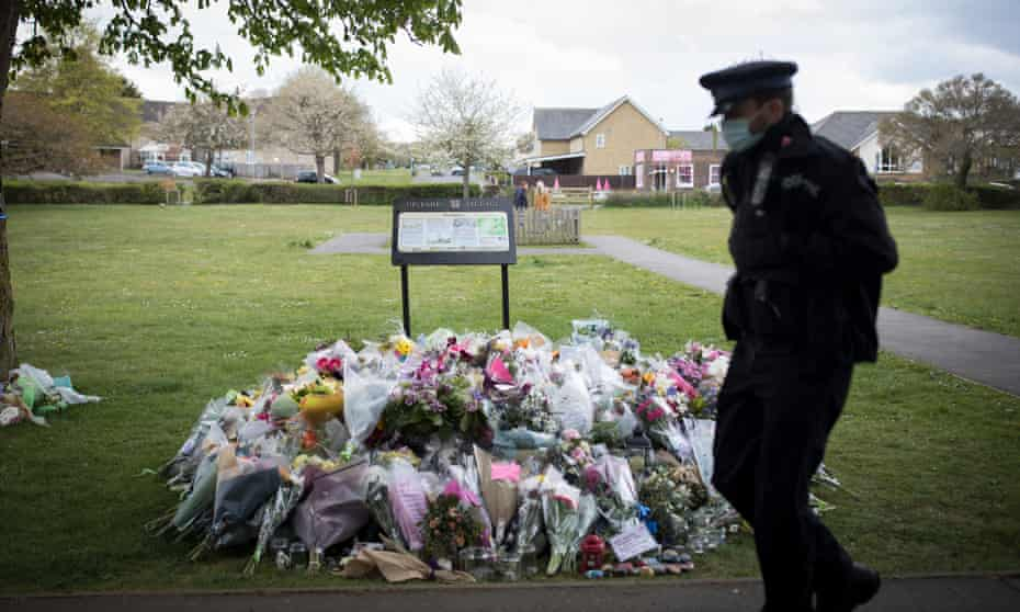 Flowers and tributes left near in town of Aylesham for PCSO Julia James.