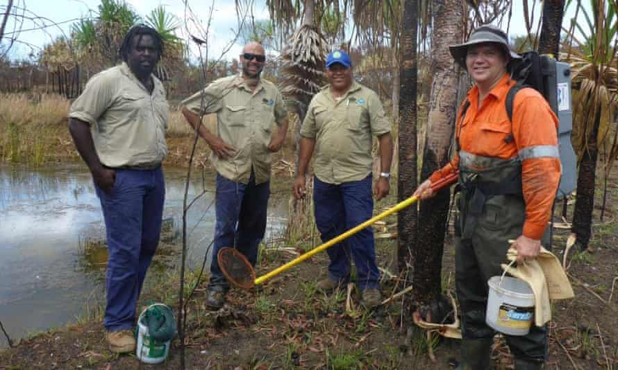 Nathan Waltham, right, with Torres Straits regional authority rangers.