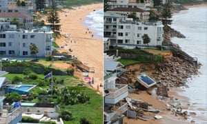 Composite of two images of Collaroy beach in Sydney, Australia, before storm damage sustained on the weekend of 4-6 June 2016, and after.