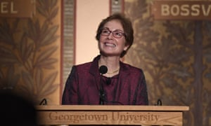 Marie Yovanovitch speaks at Georgetown University, where she was honoured with an award for diplomacy.