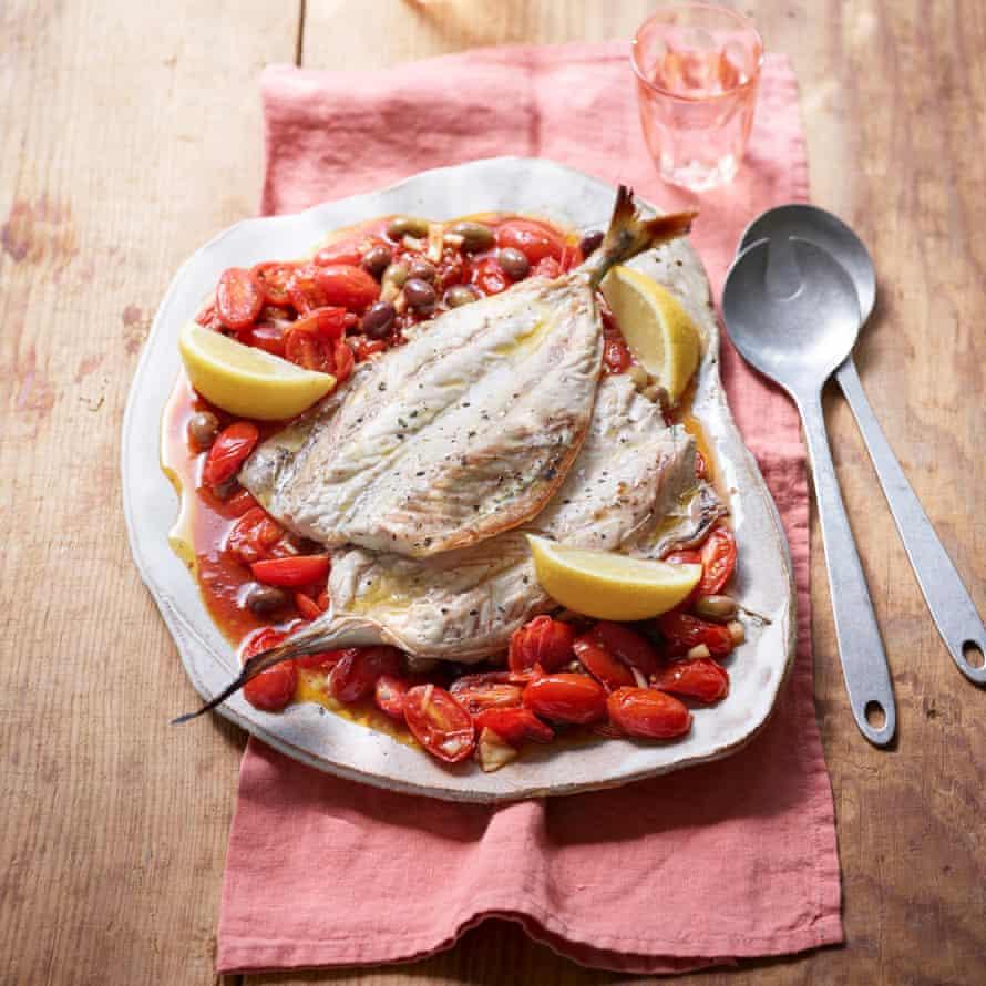 Mackerel, tomatoes and olives.