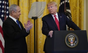 Donald Trump with Israeli prime minister Benjamin Netanyahu on 28 January at the White House.