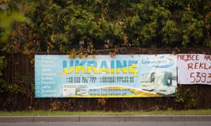 A banner in Bydgoszcz, Poland, advertises cheap bus transport to Ukraine.