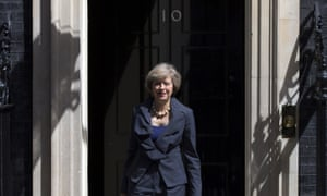 Theresa May leaves No 10 Downing Street after attending David Cameron's final cabinet meeting before she takes over from him as prime minister.