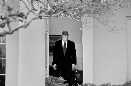 President Bill Clinton emerges from the Oval Office to talk to the media after learning that the U.S. Senate voted to acquit him of the charges of perjury and obstruction of justice during his Impeachment Trial on Feb. 12, 1999. The charges stemmed from his relationship with White House intern Monica Lewinsky.