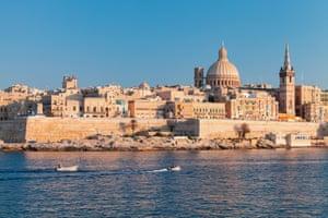 Valletta, Malta. Coastal landscape of the Maltese Capital city at sunny summer day