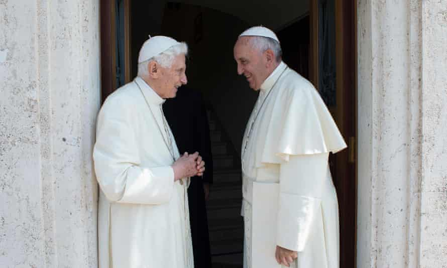 Pope Francis, right, with Pope Emeritus Benedict XVI at Vatican City.