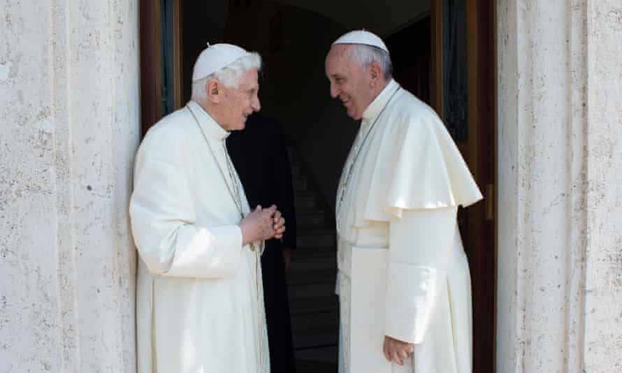 Pope Benedict XVI and Pope Francis in 2015