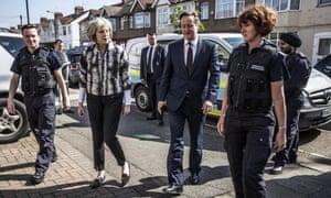 David Cameron and Home secretary Theresa May