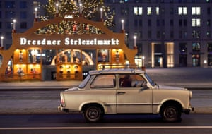 A Trabant car out for a drive in Dresden, Germany