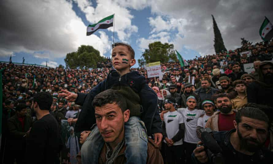 Syrians demonstrate against Bashar al-Assad's regime in Idlib on 18 March.