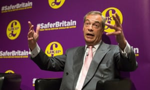 Nigel Farage makes his speech in London on Friday.