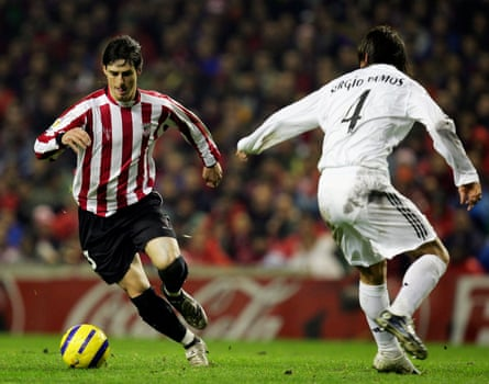 Aritz Aduriz dribbles past Real Madrid's Sergio Ramos during their Copa Del Rey game in January 2006.