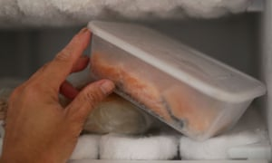 Salmon fillets in a freezer