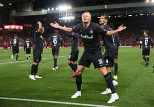 Salzburg's Erling Braut Haaland celebrates scoring their third goal.