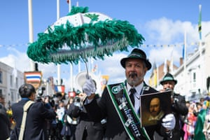 A New Orleans jazz band performs during the Stratford parade