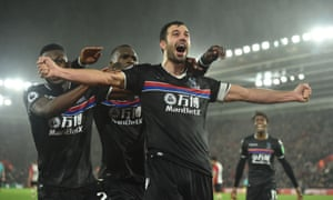 Luka Milivojevic of Crystal Palace celebrates his winning goal, which lifted Roy Hodgson's side above Southampton in the table.