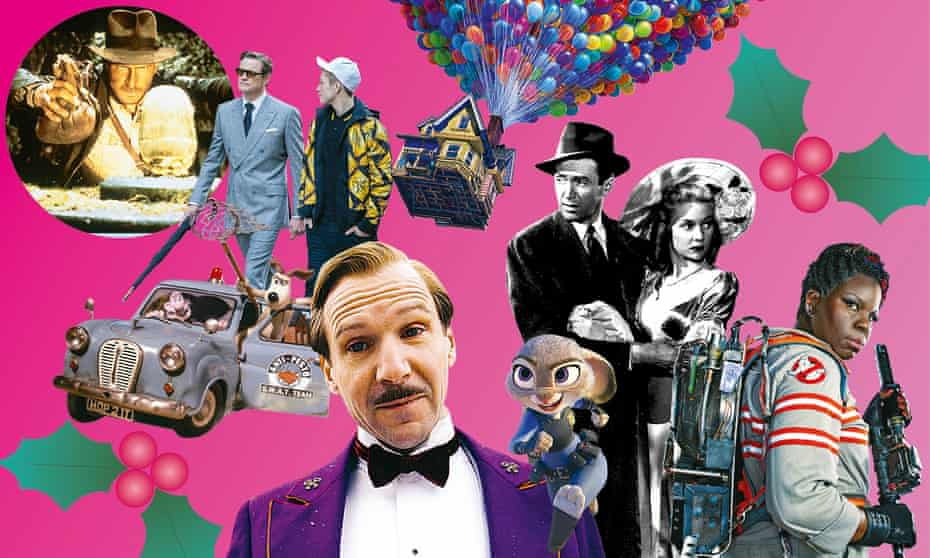 Clockwise from top left: Raiders of the Lost Ark; Kingman: The Secret Service; Up; It's A Wonderful Life; Ghostbusters; Zootropolis; The Grand Budapest Hotel; Wallace & Gromit in The Curse of the Were-Rabbit.