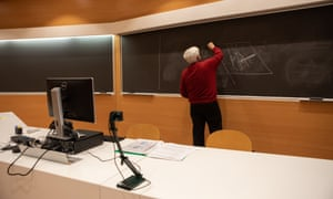 A teacher gives an online class at Politecnico di Milano on March 05, 2020 in Milan, Italy.
